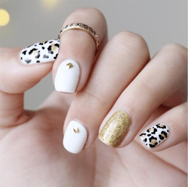 glitzy leopard gold stud nailart bmodish