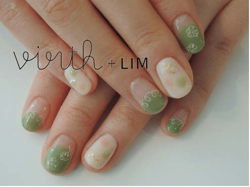 green flower nail art bmodish