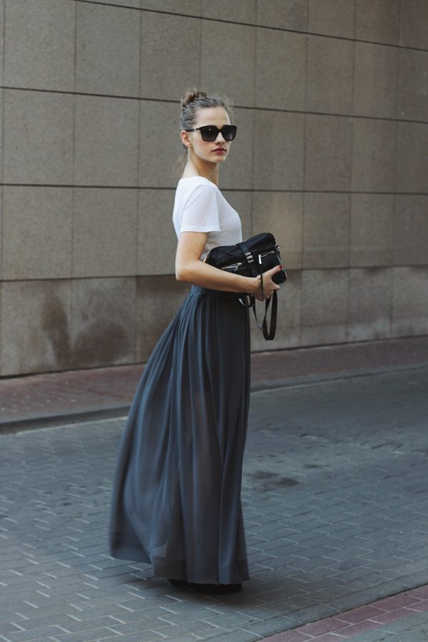 grey maxi skirt with white shirt bmodish