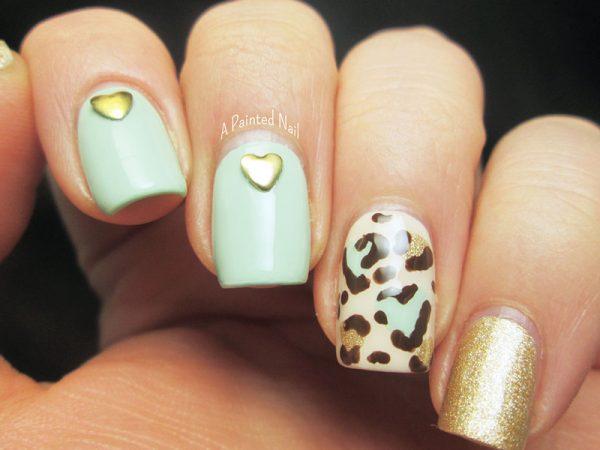 heart leopard print skittlet nailart bmodish