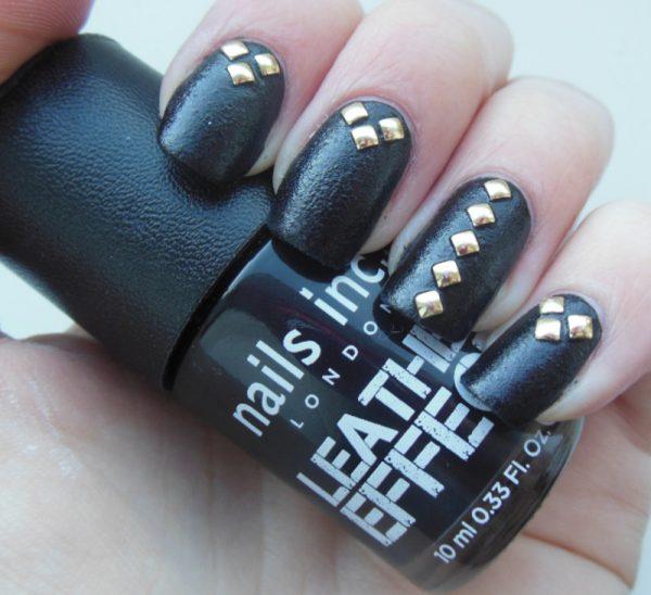 leather and stud nail art bmodish