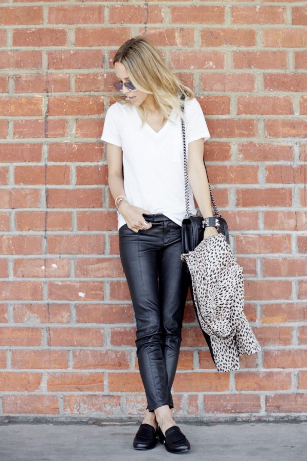 leather skinny pant with white shirt bmodish