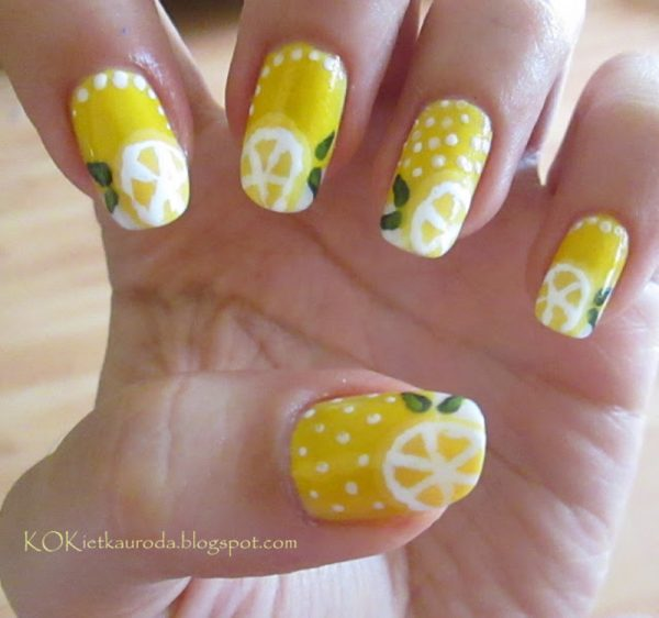 lemons nail art bmodish