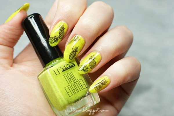 little neon pineapple nail design bmodish