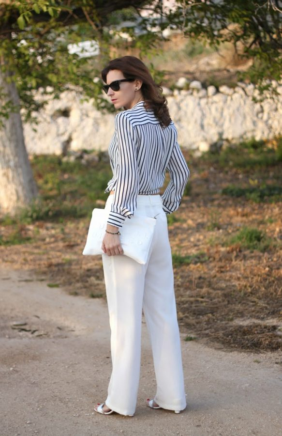 mango pants with stripe shirt bmodish