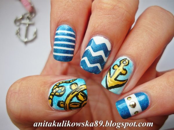 Attractive design of nautical nail art be modish marine nail art bmodish prinsesfo Images