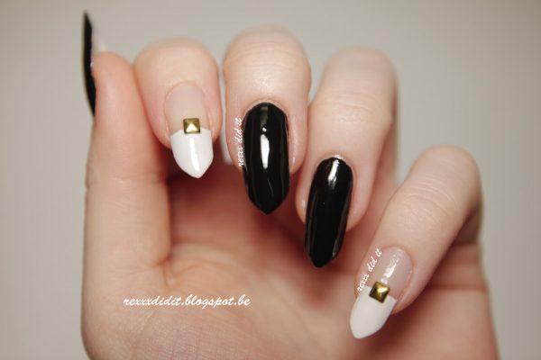 monochrome studded nailart bmodish