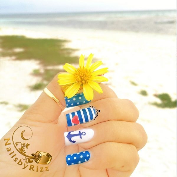 nautical blue nails bmodish