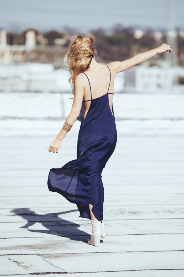 navy blue summer long dress bmodish
