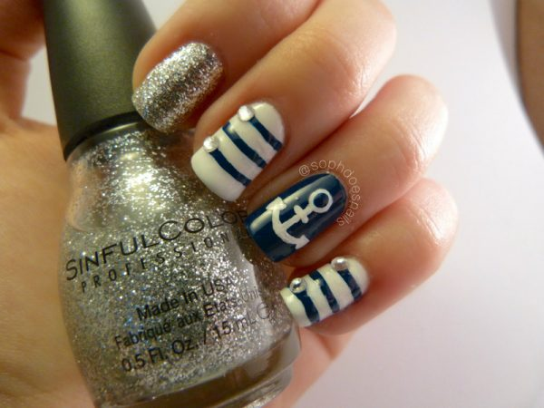 navy nautical nail design bmodish