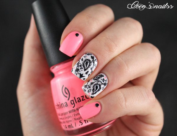neon and paisley nail design bmodish