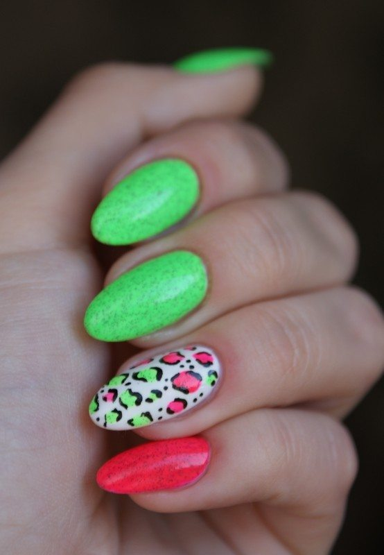neon animal print nail art bmodish