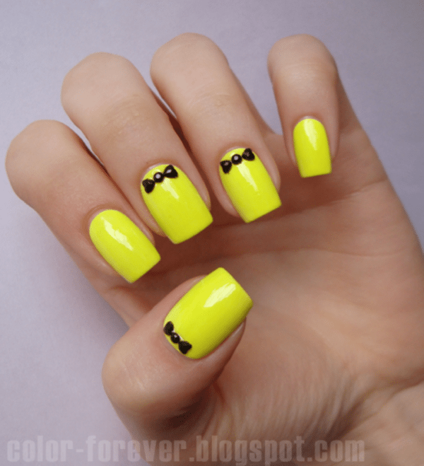 neon bow easy nail art bmodish