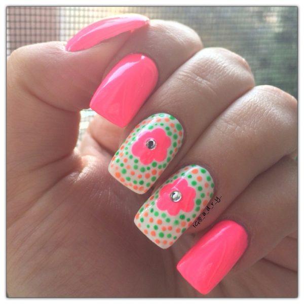 neon flowers nail art bmodish