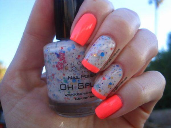 neon glitter nail design bmodish