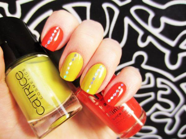 neon glitter nailart bmodish
