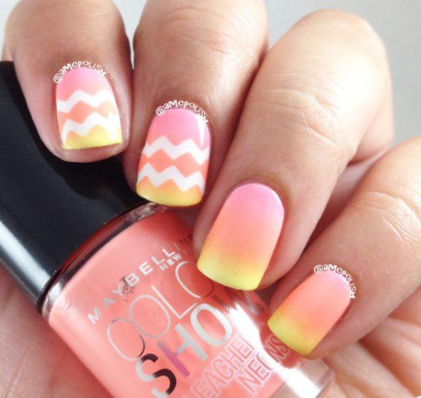 neon gradient chevron nail design bmodish
