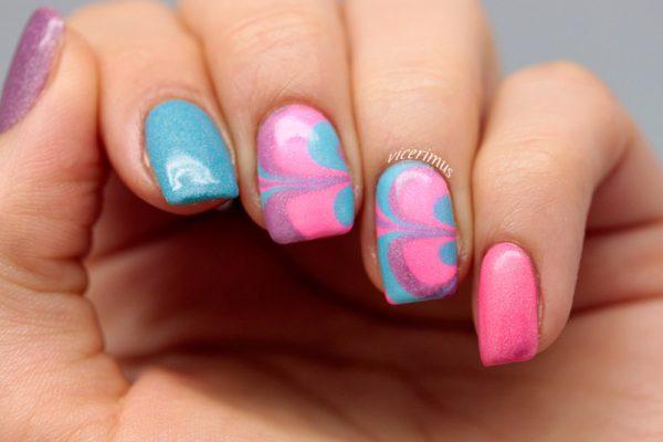 neon holo watermarble nail design bmodish