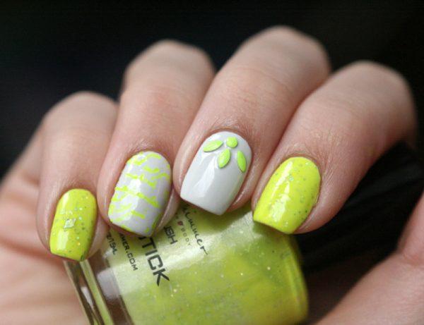 neon inspired nail design bmodish