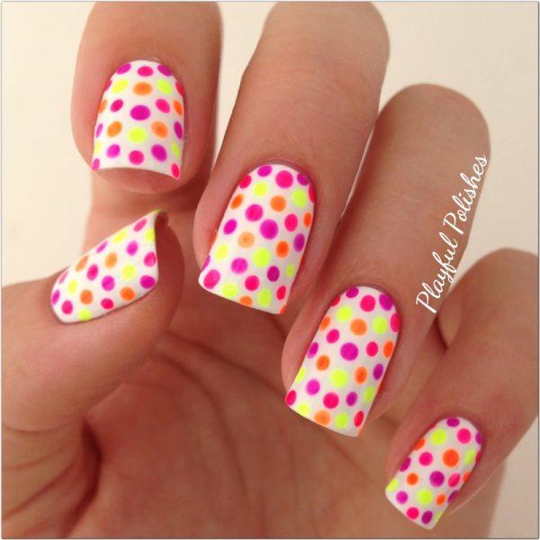 neon polka dots nail design bmodish
