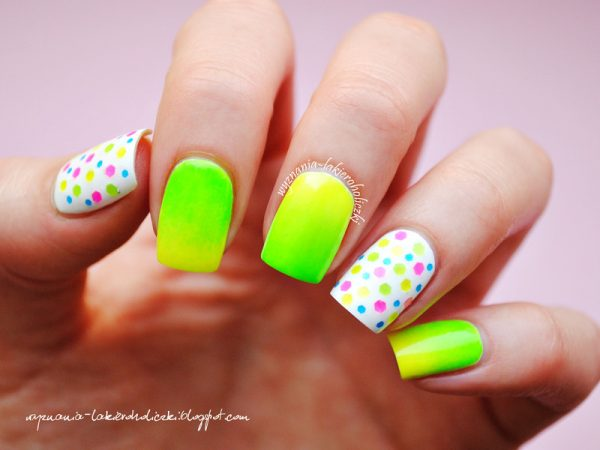 25 cute eye catching neon nail arts be modish neon spring nail design bmodish prinsesfo Choice Image