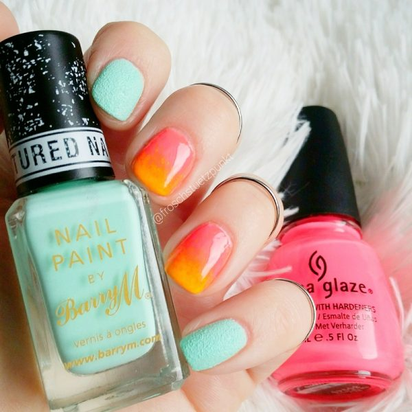 neon sunset nail design bmodish