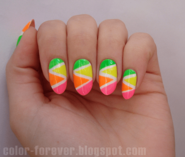 neon tape manicure bmodish