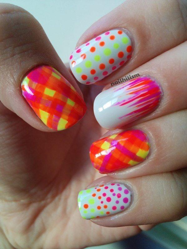 neon tartan nail design bmodish
