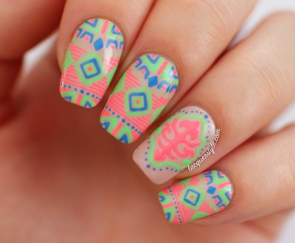 neon tribal nail design 2 bmodish