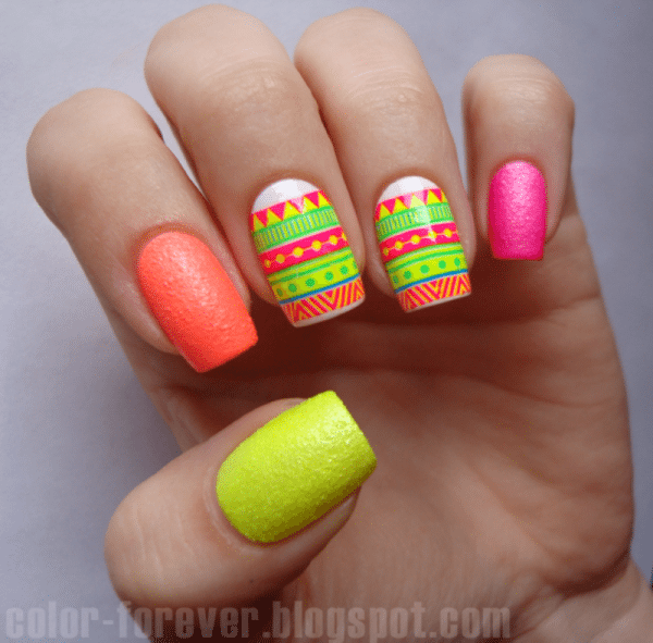 neon tribal nail design bmodish