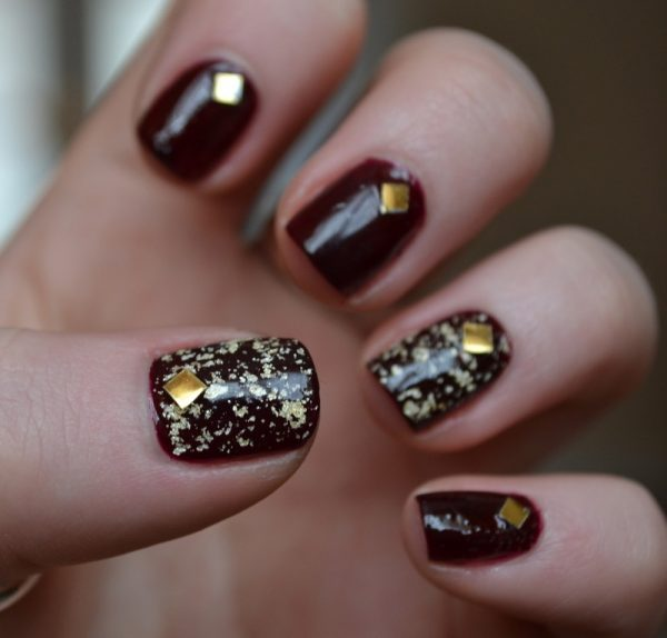 34 classy glitzy gold stud nail arts be modish opi gold and silver nail art with studs bmodish prinsesfo Images