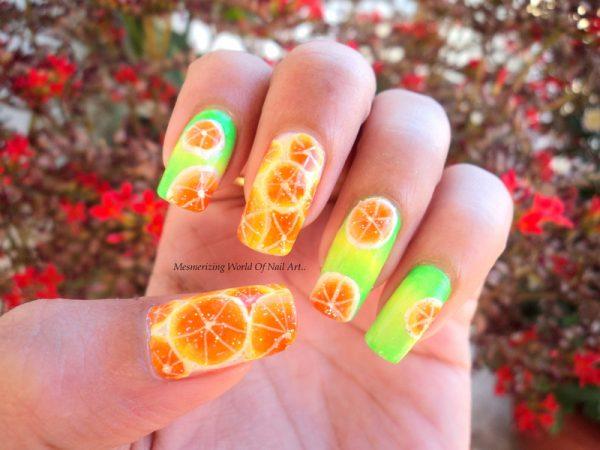 orange temptation fruit nail art bmodish