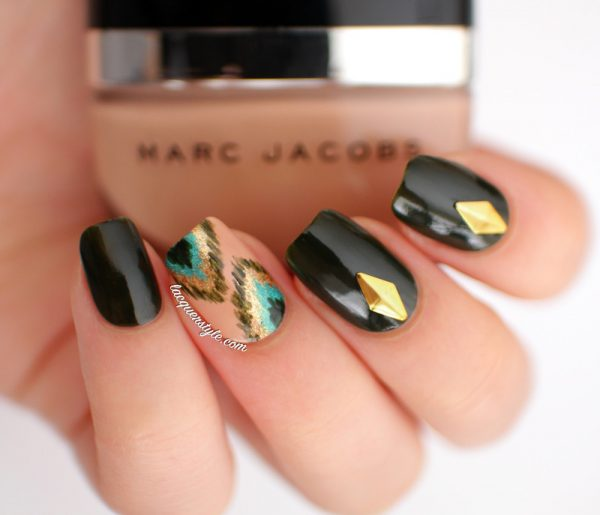 peacock ikat and gold stud nailart bmodish