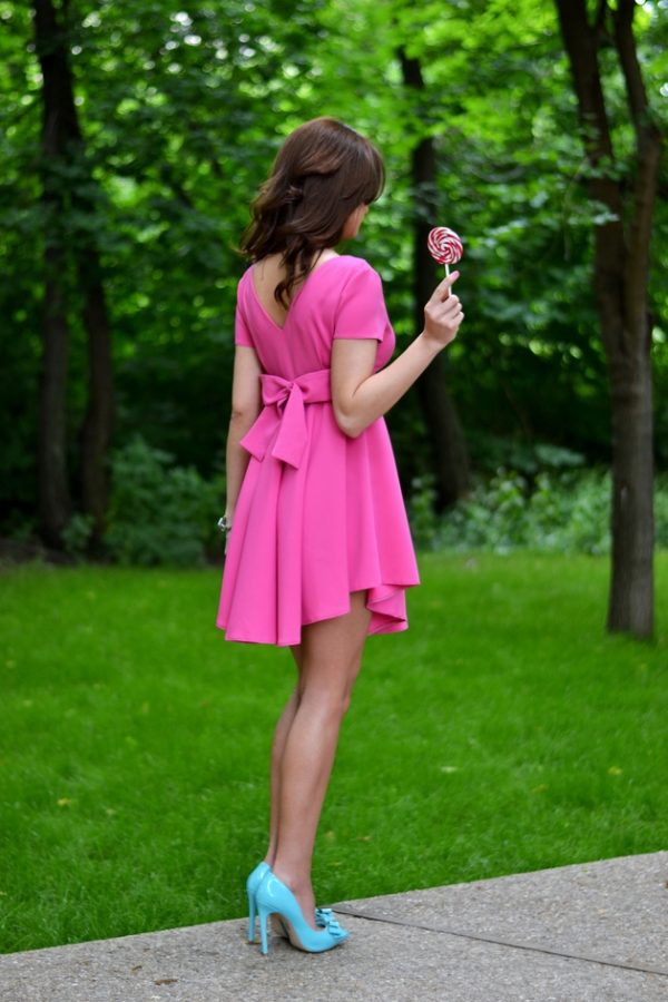 pink back bow summer dress bmodish