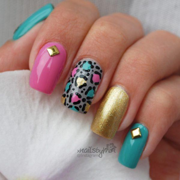 pink mint gold stud leopard nailart bmodish