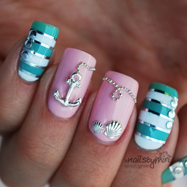 Attractive design of nautical nail art be modish pink mint nautical nails bmodish prinsesfo Gallery