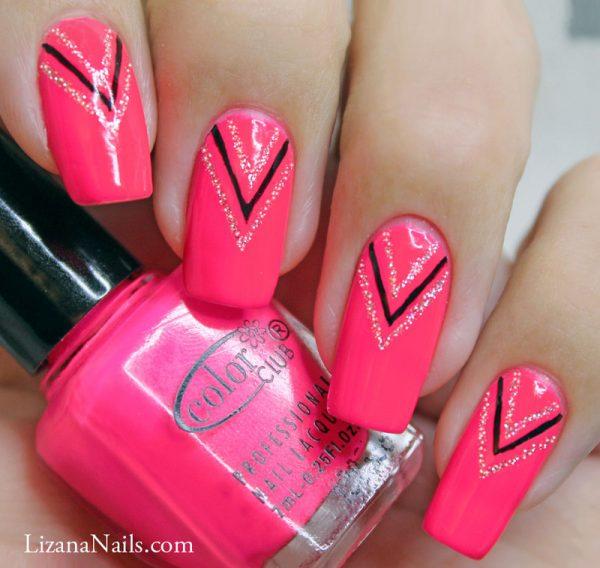 pink neon nail design bmodish
