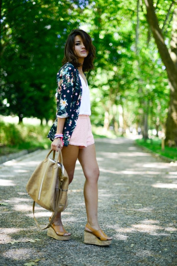 pink shorts with floral kimono bmodish