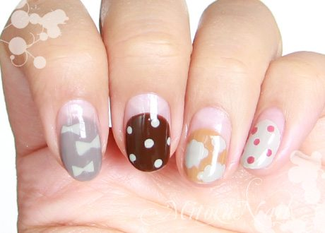 polka dots and bow nail art bmodish