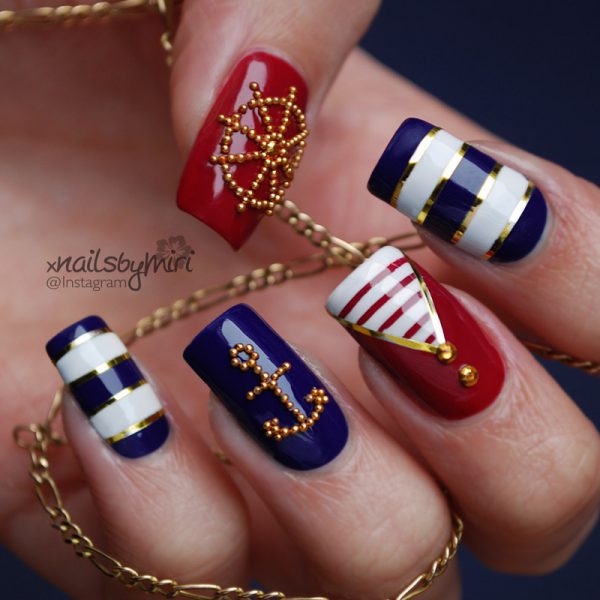 pretty nautical stripe nail art bmodish