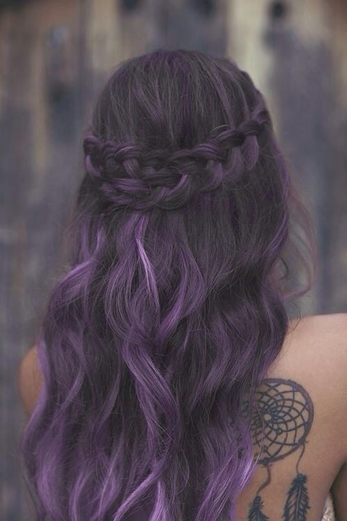 purple braided hair bmodish
