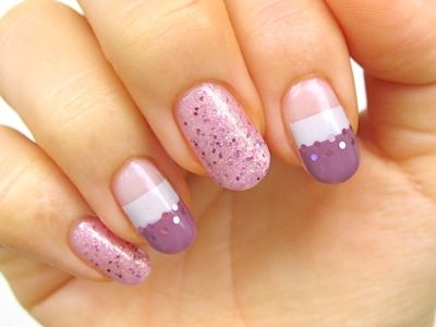 purple glitter nail art bmodish