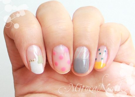 rectangle and polka dot nail art bmodish