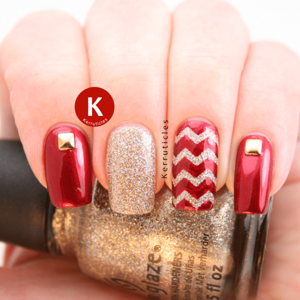 red gold studded nail art bmodish dot com