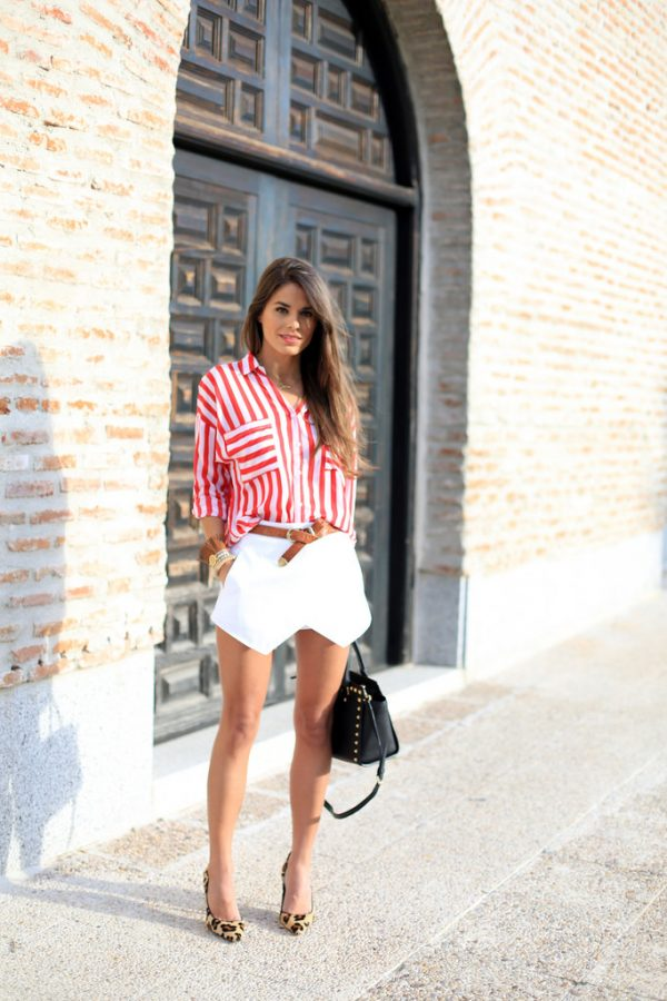red stripe shirt with skort bmodish