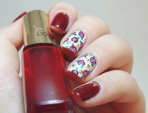 red valentine stud nailart bmodish