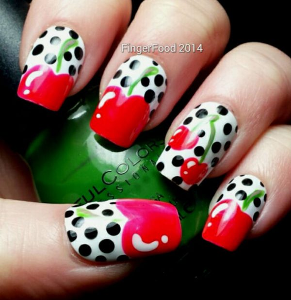 retro cherries nail art bmodish