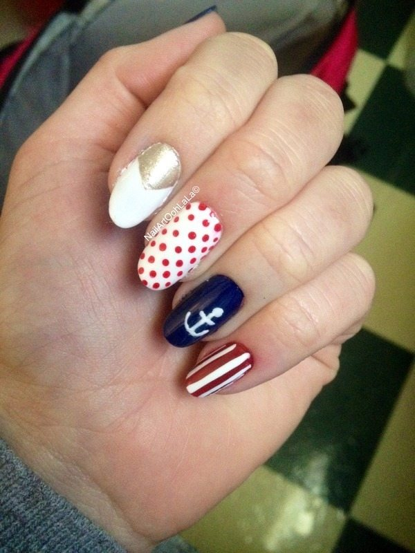 Attractive design of nautical nail art be modish sailor nautical nails bmodish prinsesfo Image collections
