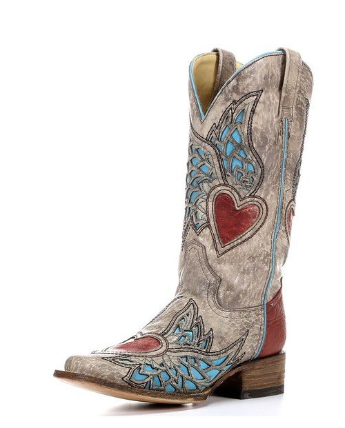sand red turquoise side wing heart cowgirl boots bmodish