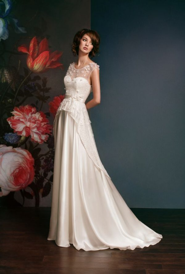 satin and lace beautiful wedding dress bmodish